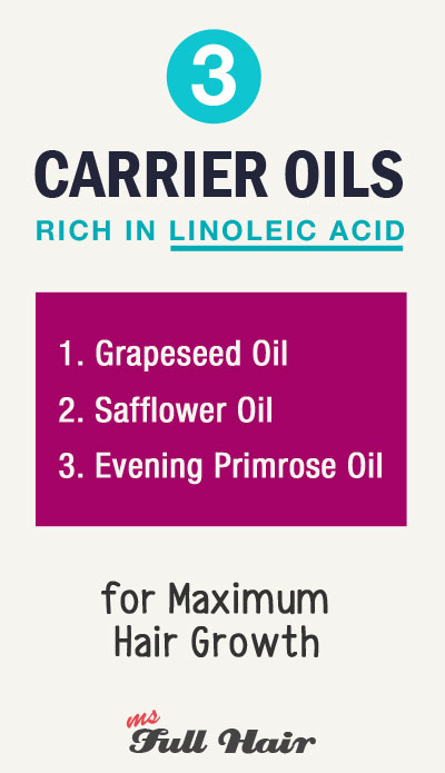 3 best carrier oils high in linoleic acid for hair growth